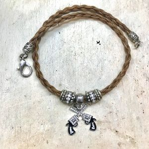 Handmade Horse Hair Necklace with Pistols